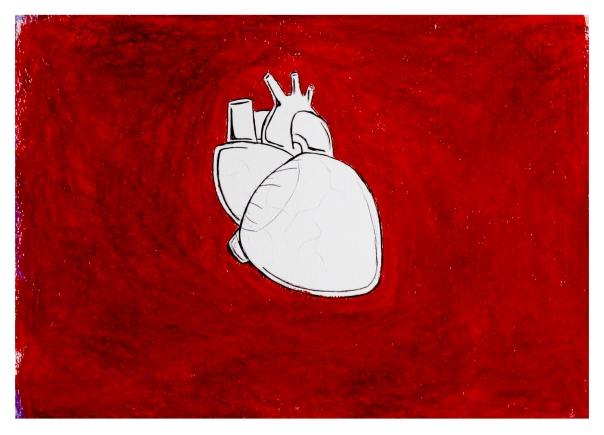 Rojo sangre para un corazón en blanco-1