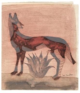 francisco-toledo-coyote-con-maguey,-sewing-machine,-figura-y-garza,-untitled,-perros-con-cactus,-perro-con-camiseta,